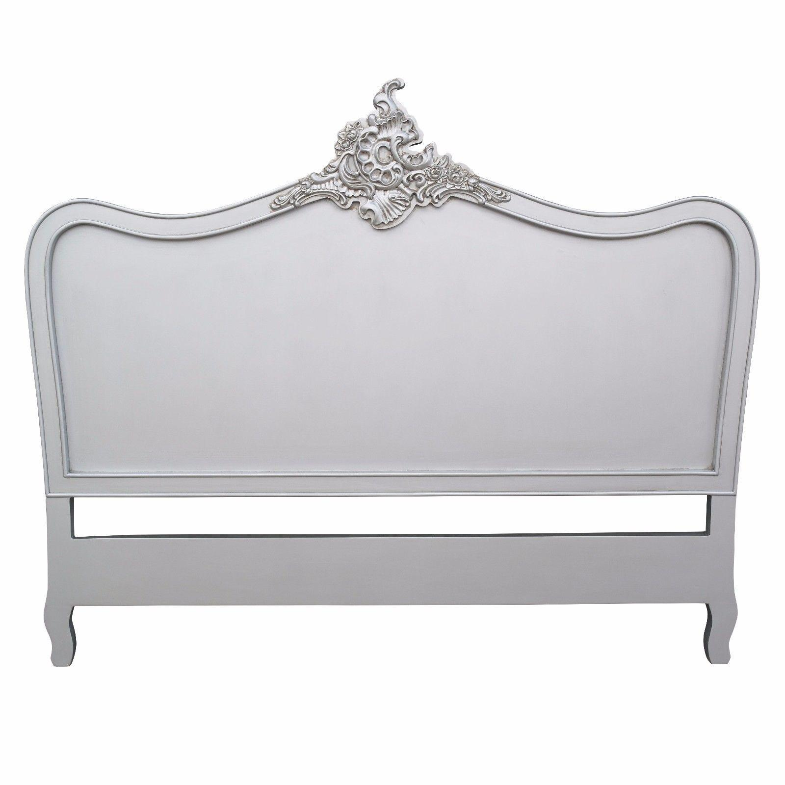 French Antiqued Silver 5ft King Headboard Maison
