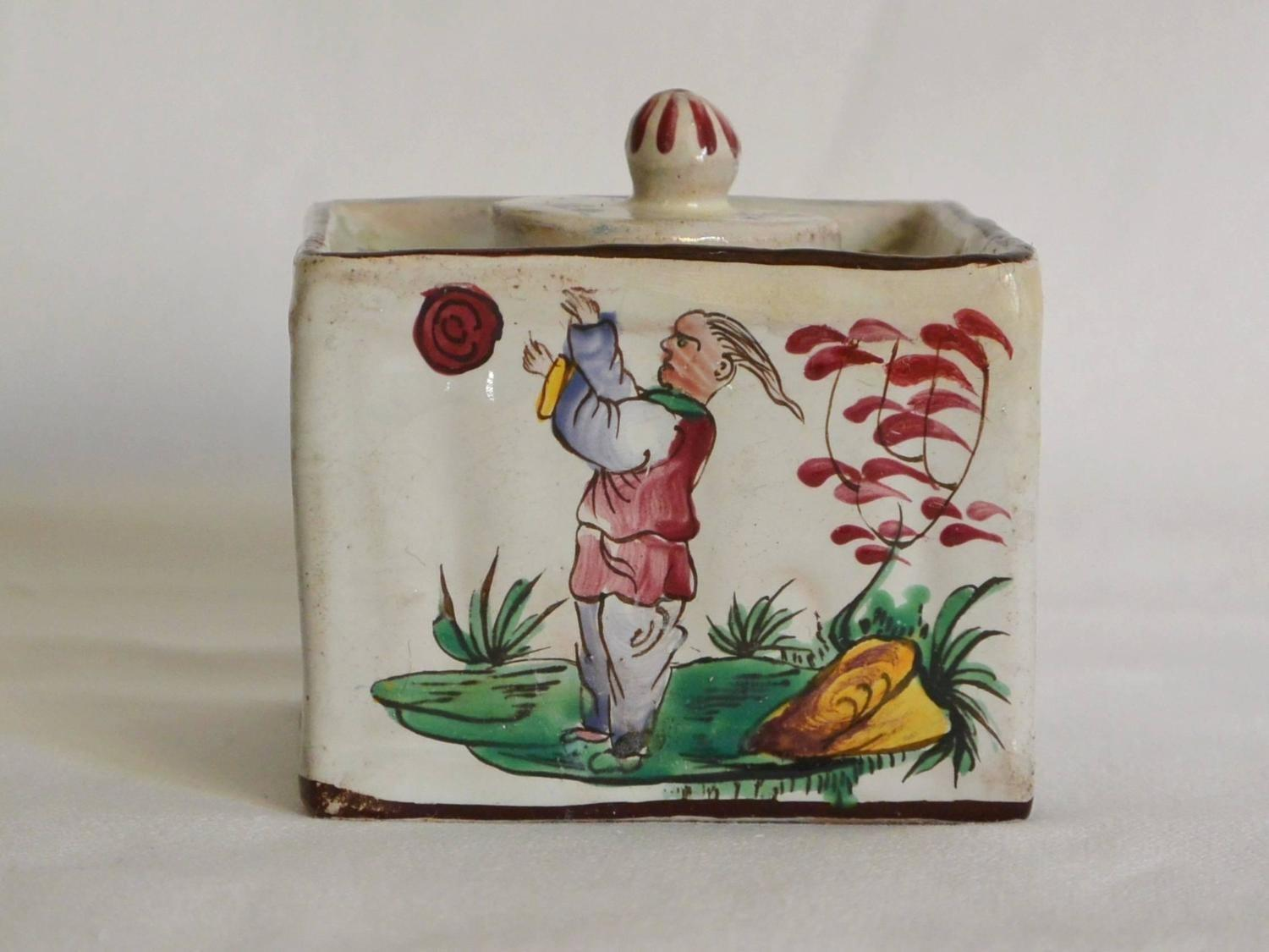 French Faience Chinoiserie Inkwell 1stdibs