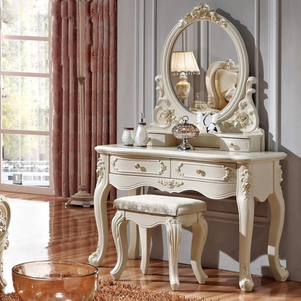 French Inspired Dressing Table Design Oval Mirror
