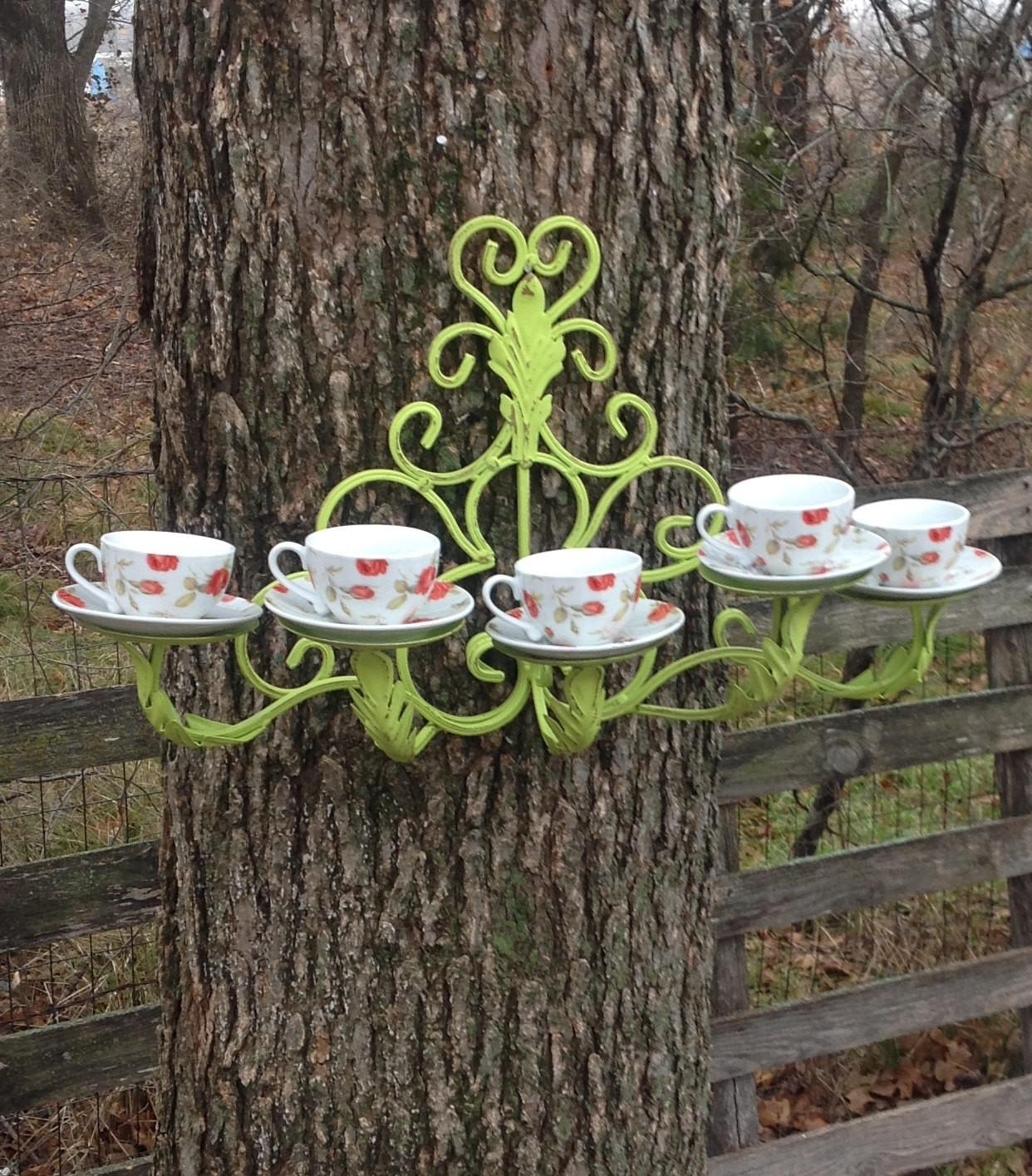 French Inspired Tea Cup Bird Feeder Hanging Outdoor Decor