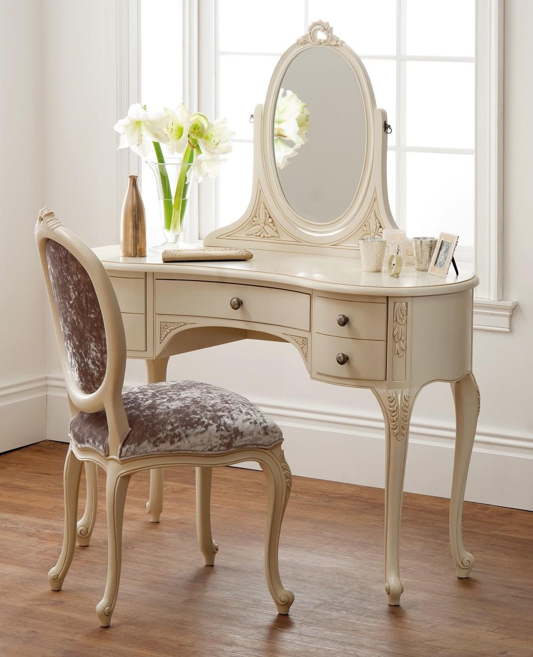 French Ivory Dressing Table Mirror Oak Furniture