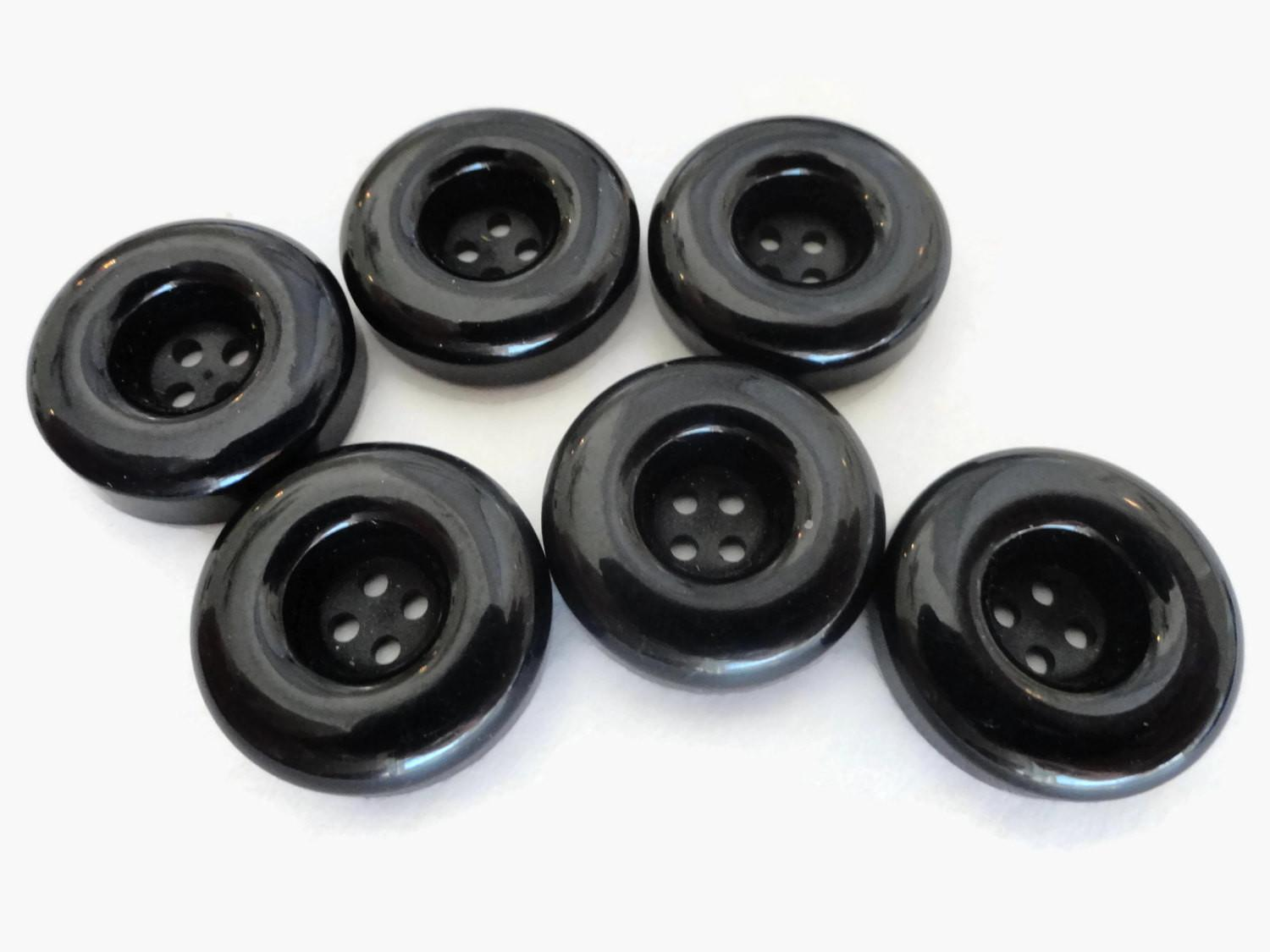 French Licorice Vintage Buttons Mid Century Plastic