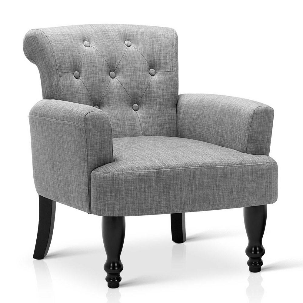 French Provincial Wing Armchair Ash Grey Four Legs