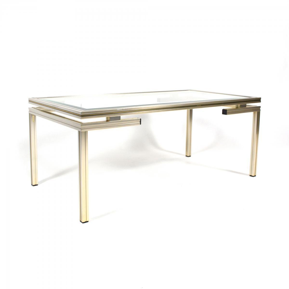 French Silver Gold Coffee Table Pierre Vandel