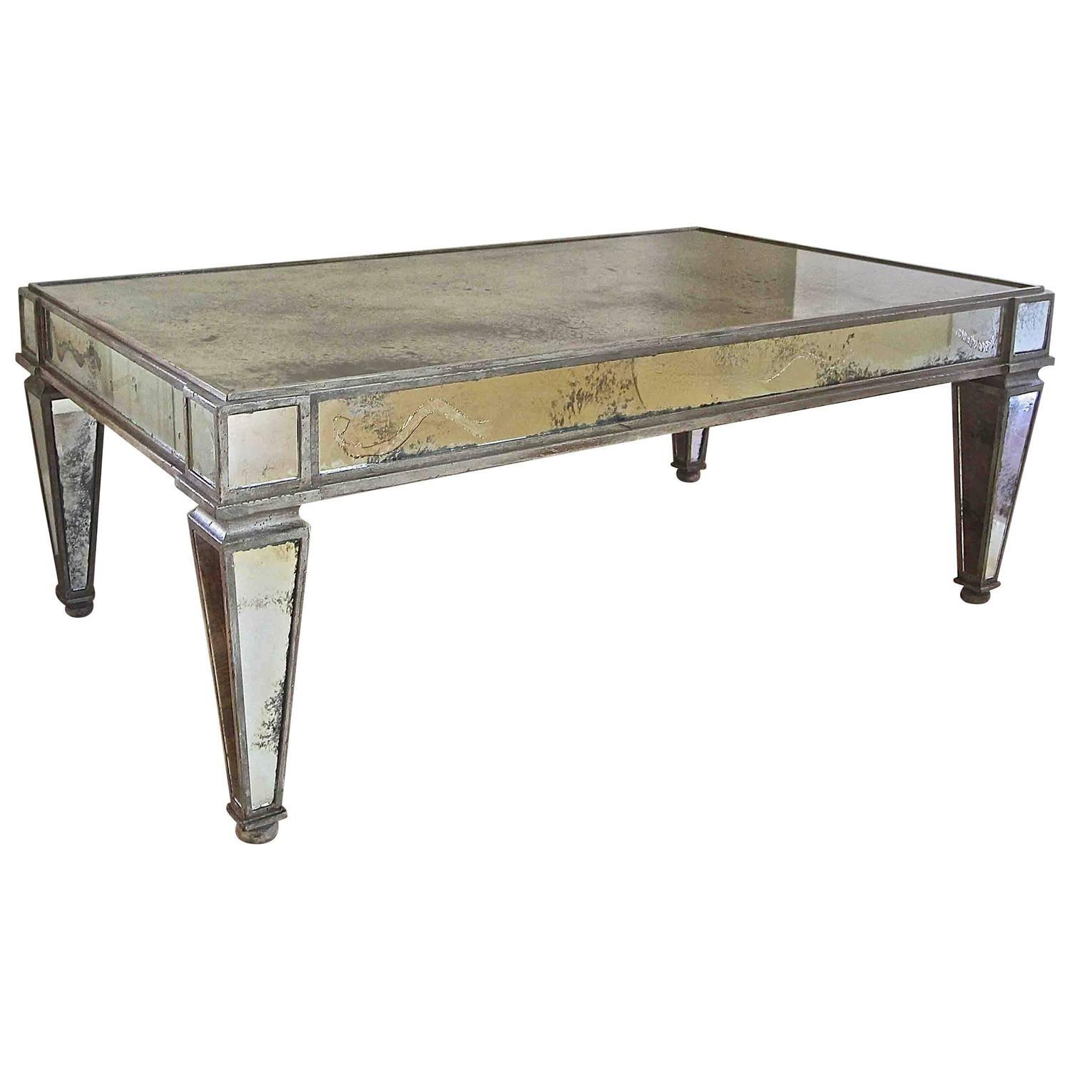 French Style Antiqued Mirror Cocktail Coffee Table