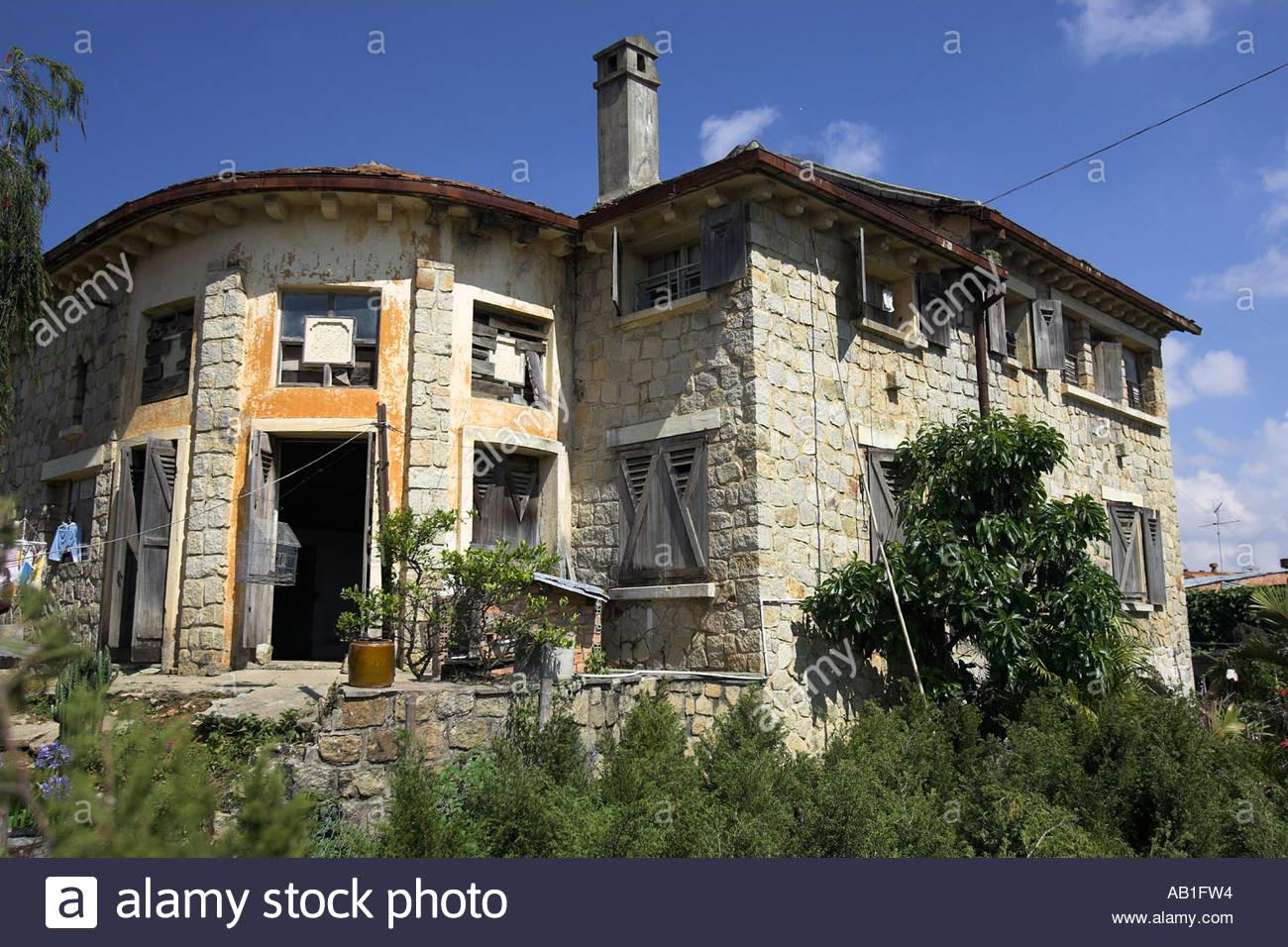 French Style Stone Country House Wooden Shutters