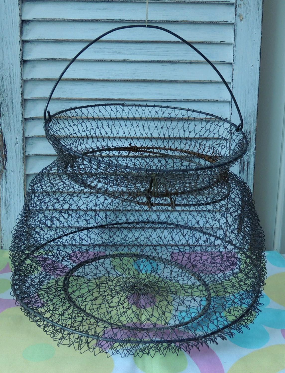 French Vintage Wire Fish Basket Kitchen Home Hanging