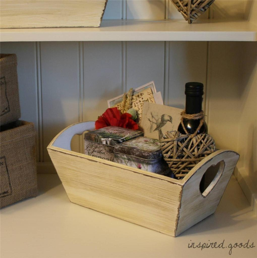 French Vintage Wooden Heart Crate Basket Shabby Chic