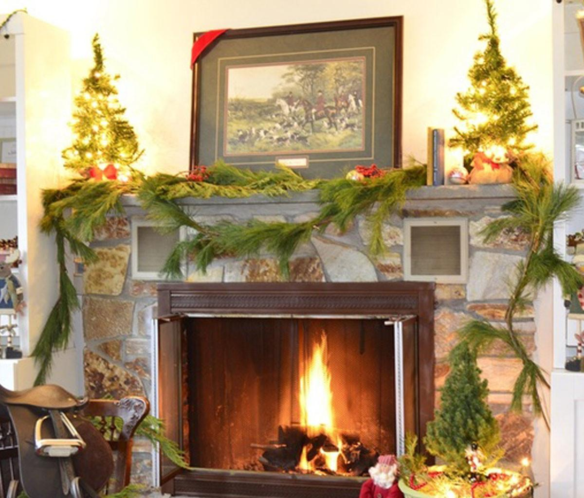 Fresh Decorating Fireplace Mantels Winter