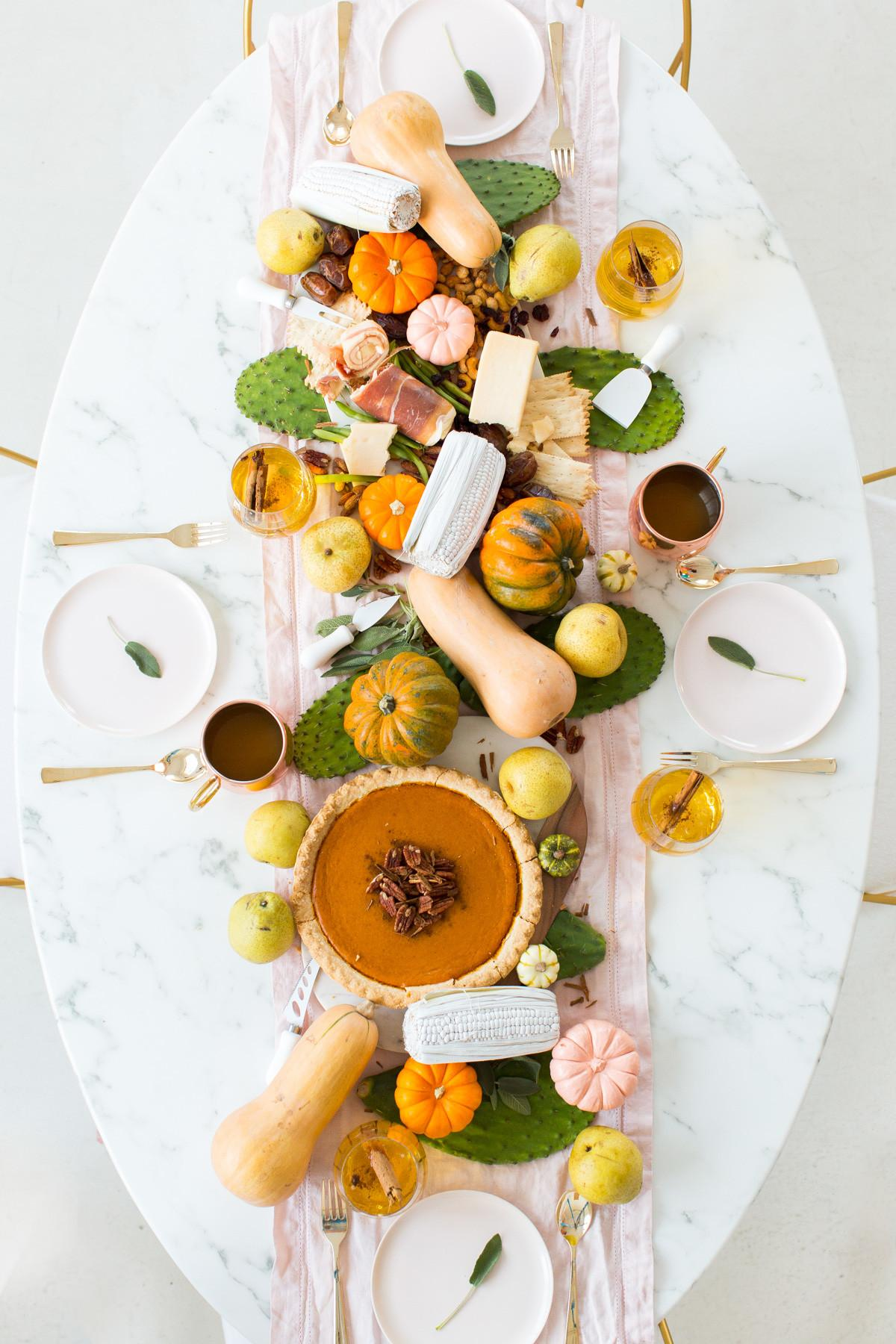 Friendsgiving Table Setting Idea Sparkling Pumpkin Cider