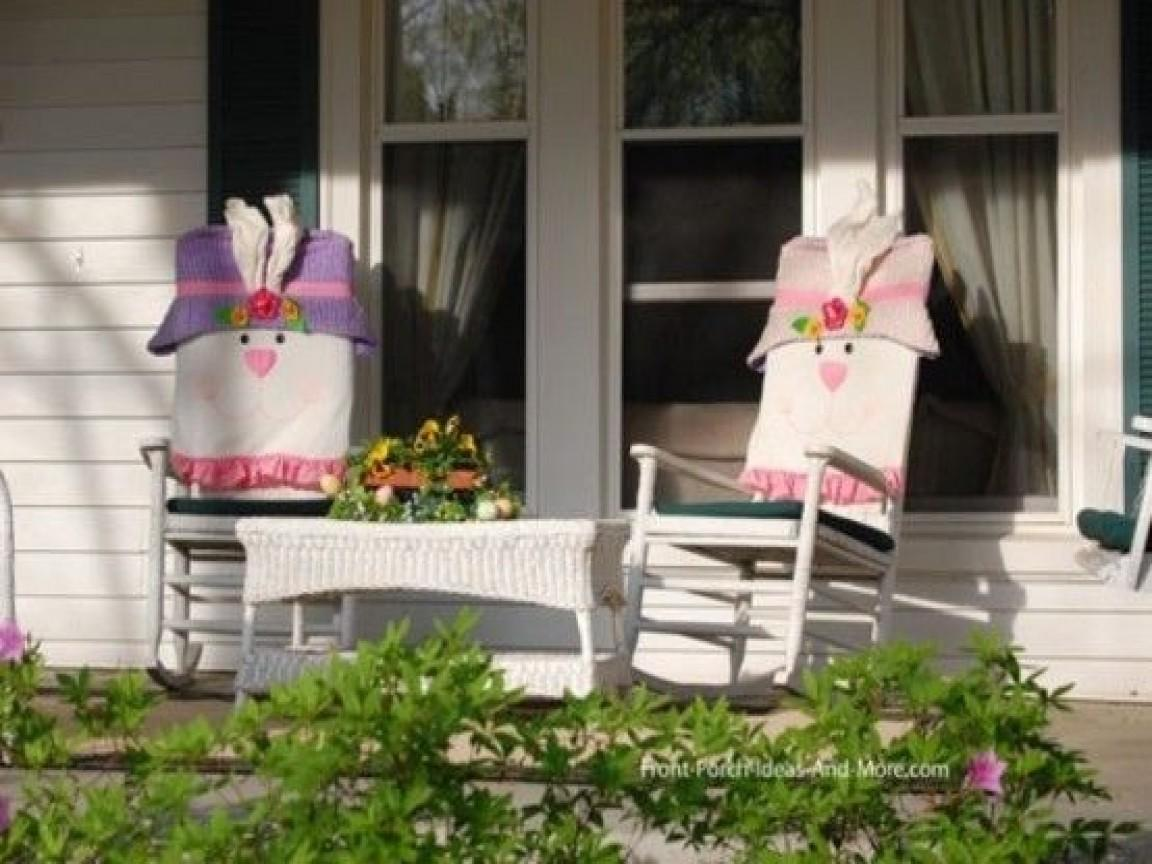 Front Porch Chair Easter Decorating Covered