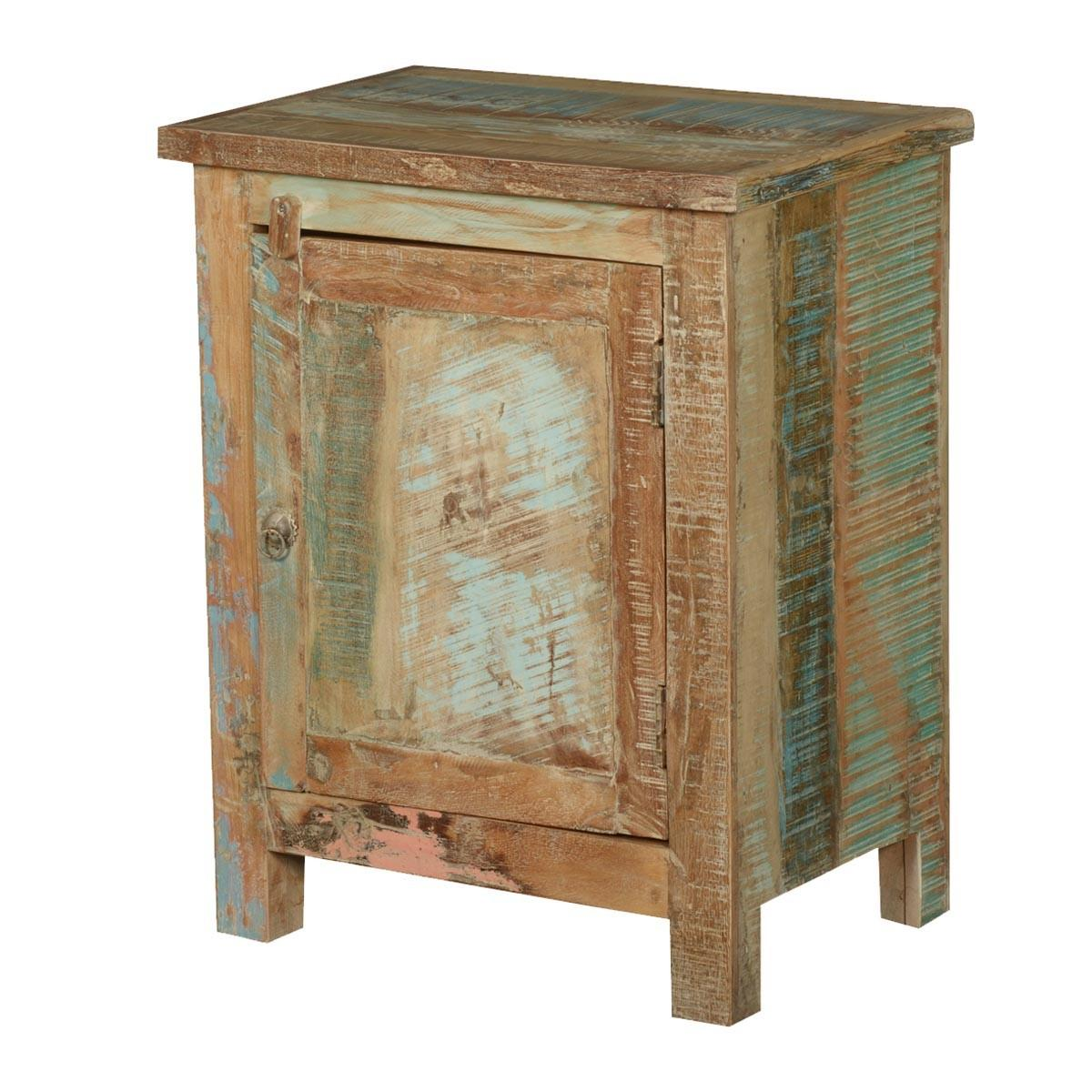 Frontier Rustic Reclaimed Wood Nightstand End Table Cabinet
