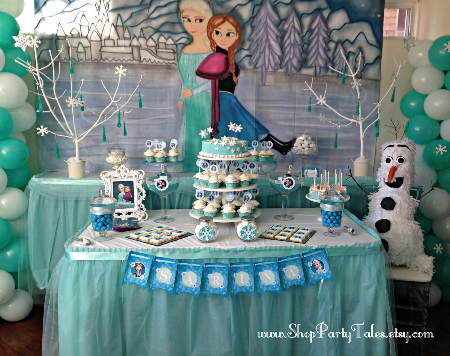 Frozen Disney Party Table Backdrop Hand Painted Mural Canvas