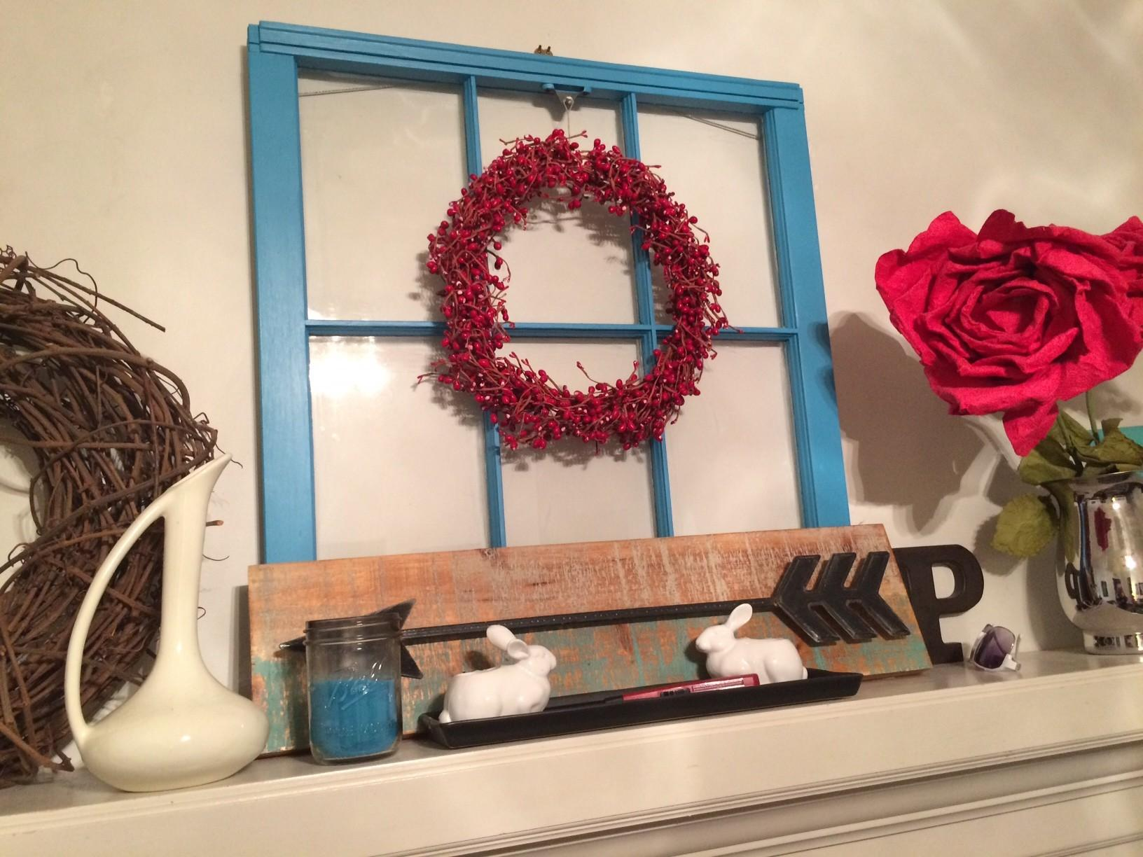 Frugal Decorating Seasonal Mantel Thrifted Finds