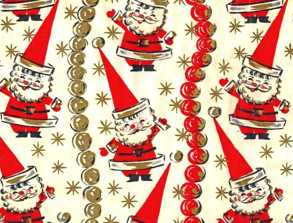 Funky Santa Wrapping Paper After Scanned