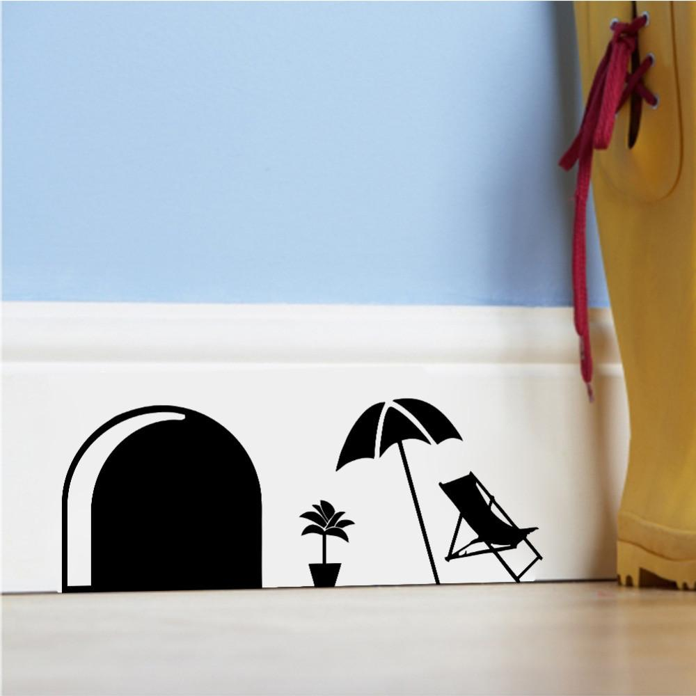 Funny Cartoon Mouse Hole Wall Stickers Kids Rooms