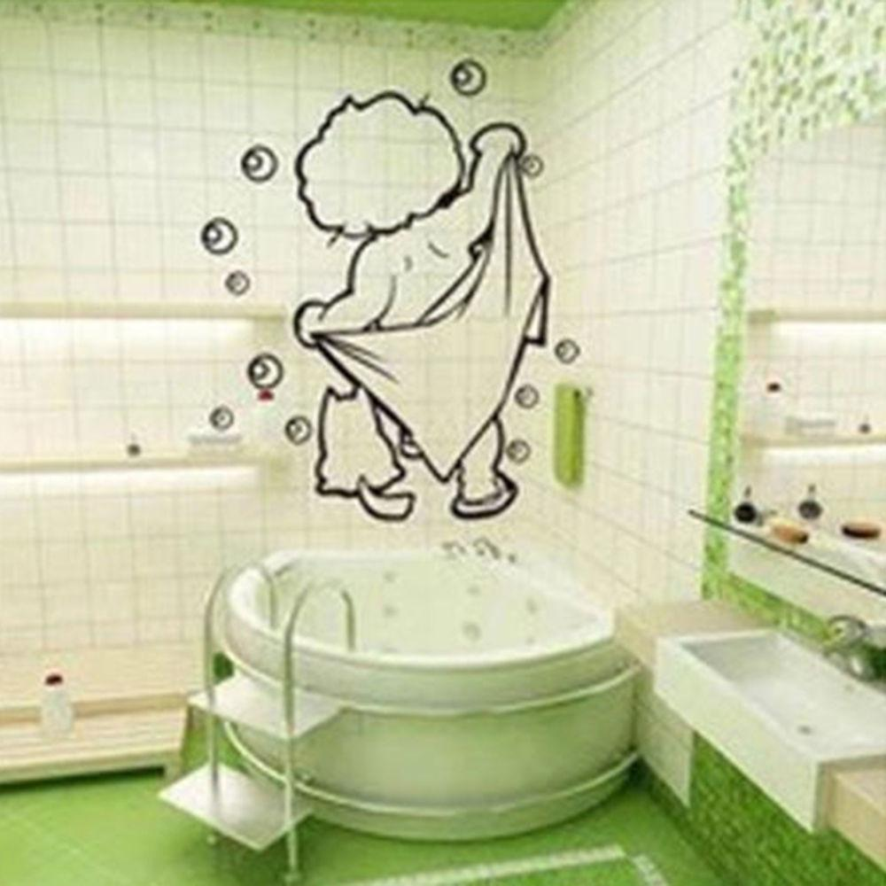 Funny Kids Shower Design Bathroom Removable Wall Stickers