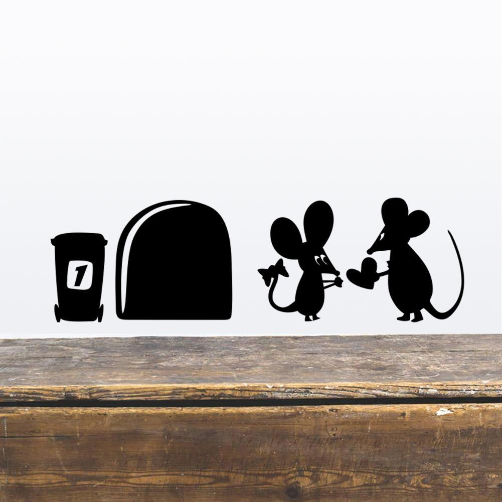 Funny Love Mouse Hole Wall Stickers Kids Rooms