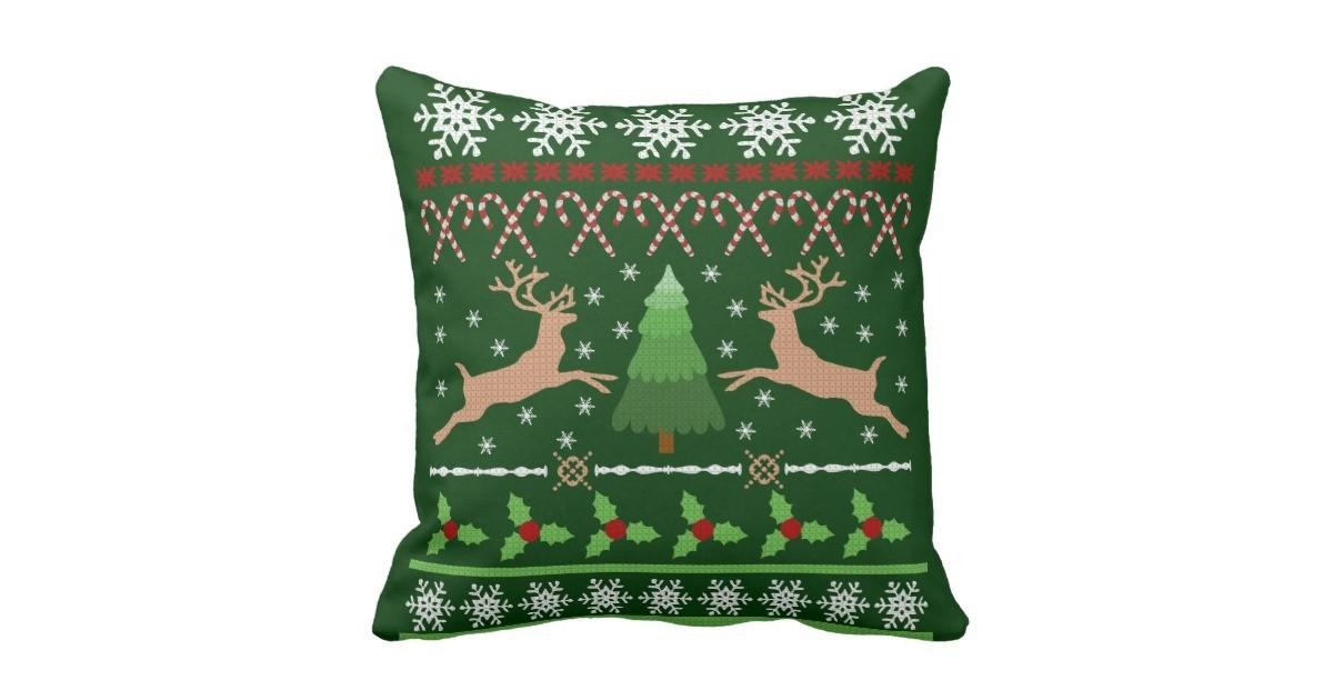 Funny Ugly Christmas Sweater Throw Pillow Zazzle