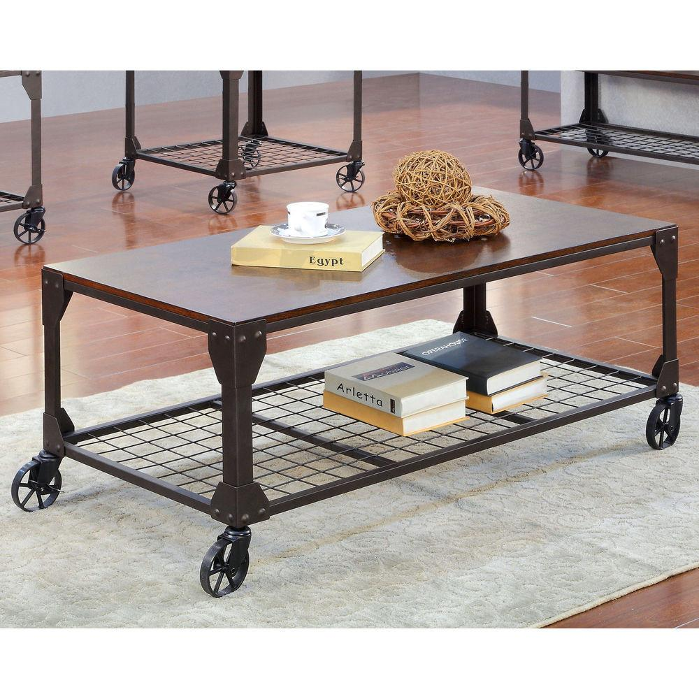 Furniture America Karina Industrial Style Coffee Table