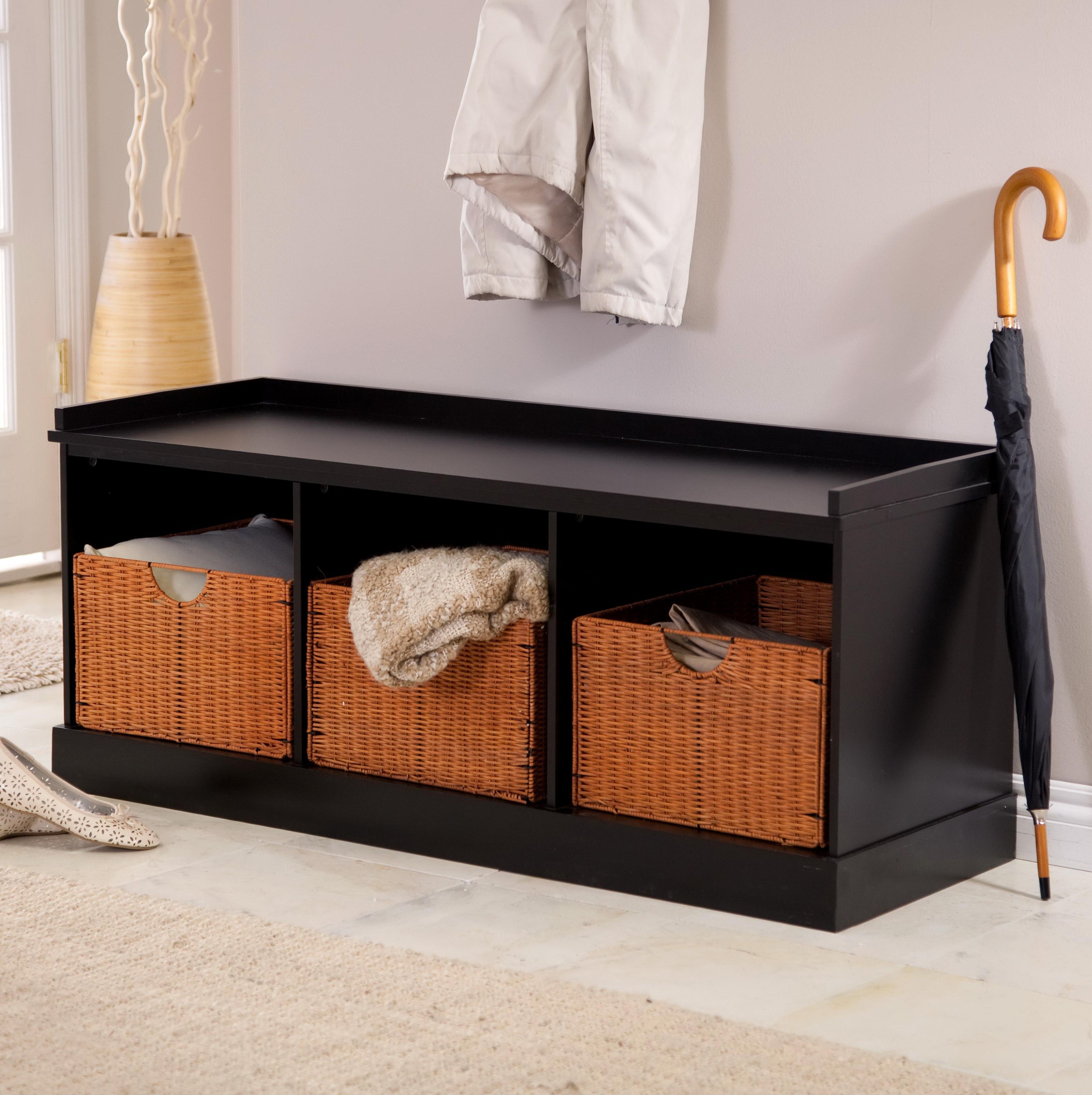 Furniture Black Storage Bench Baskets