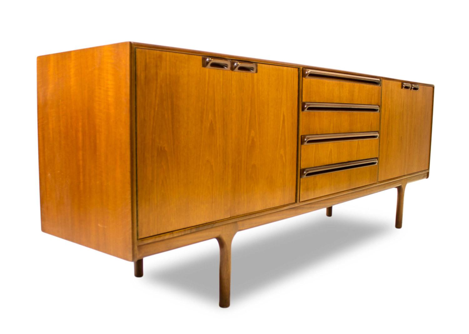 Furniture Brown Wooden Mid Century Media Cabinet Using