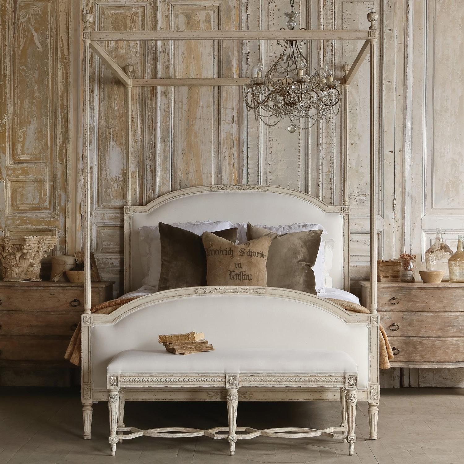 Furniture Carved White Wooden Canopy Bed Frame