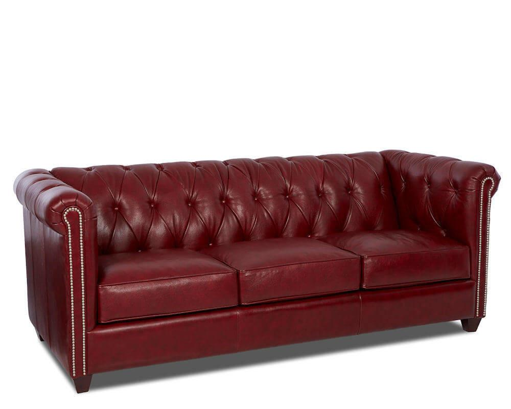 Furniture Comfort Design Red Tufted Leather Sofa