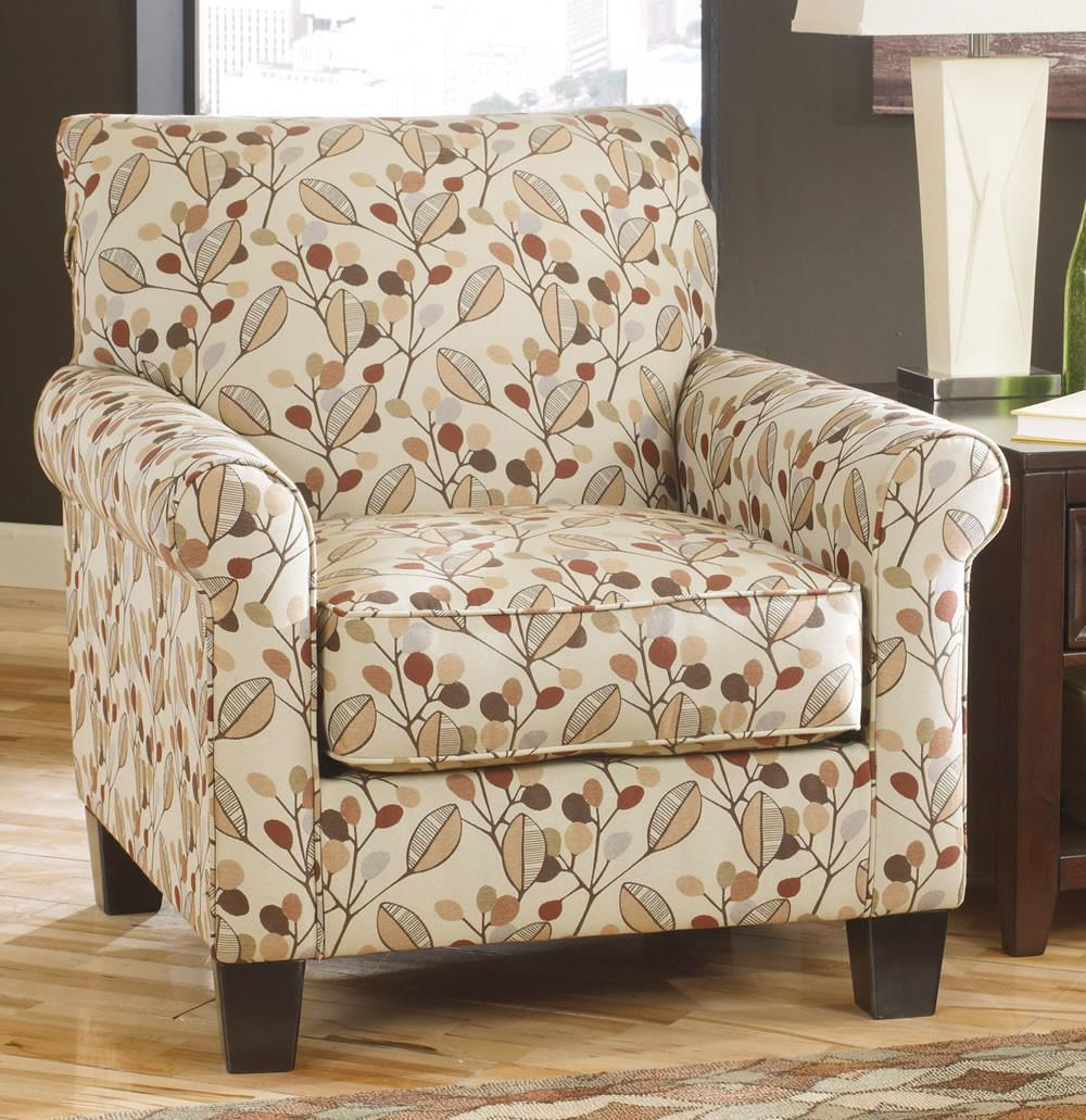 Furniture Cream Leaves Design Upholstered Accent