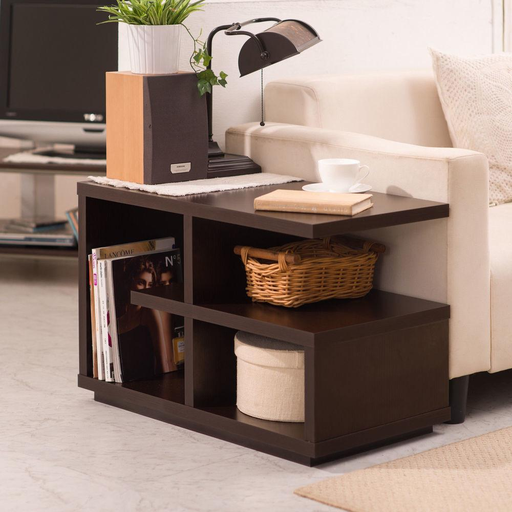 Furniture Modern Walnut End Table Living Room Accent