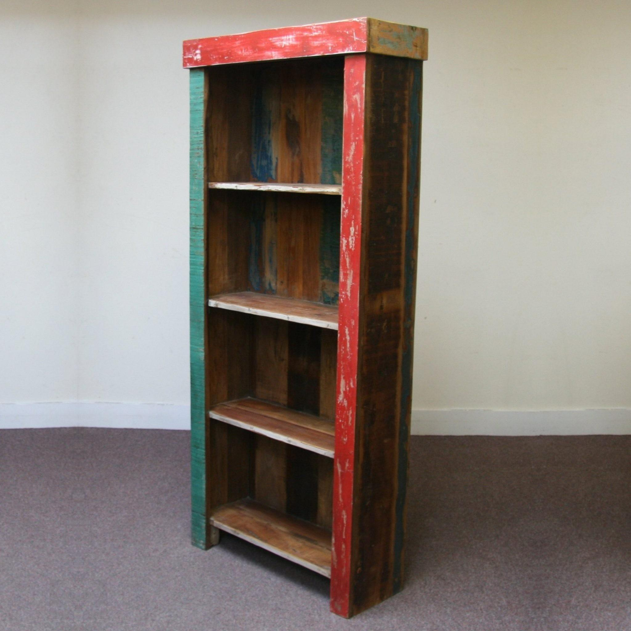 Furniture Shallow Tall Bookcase Rustic Wooden