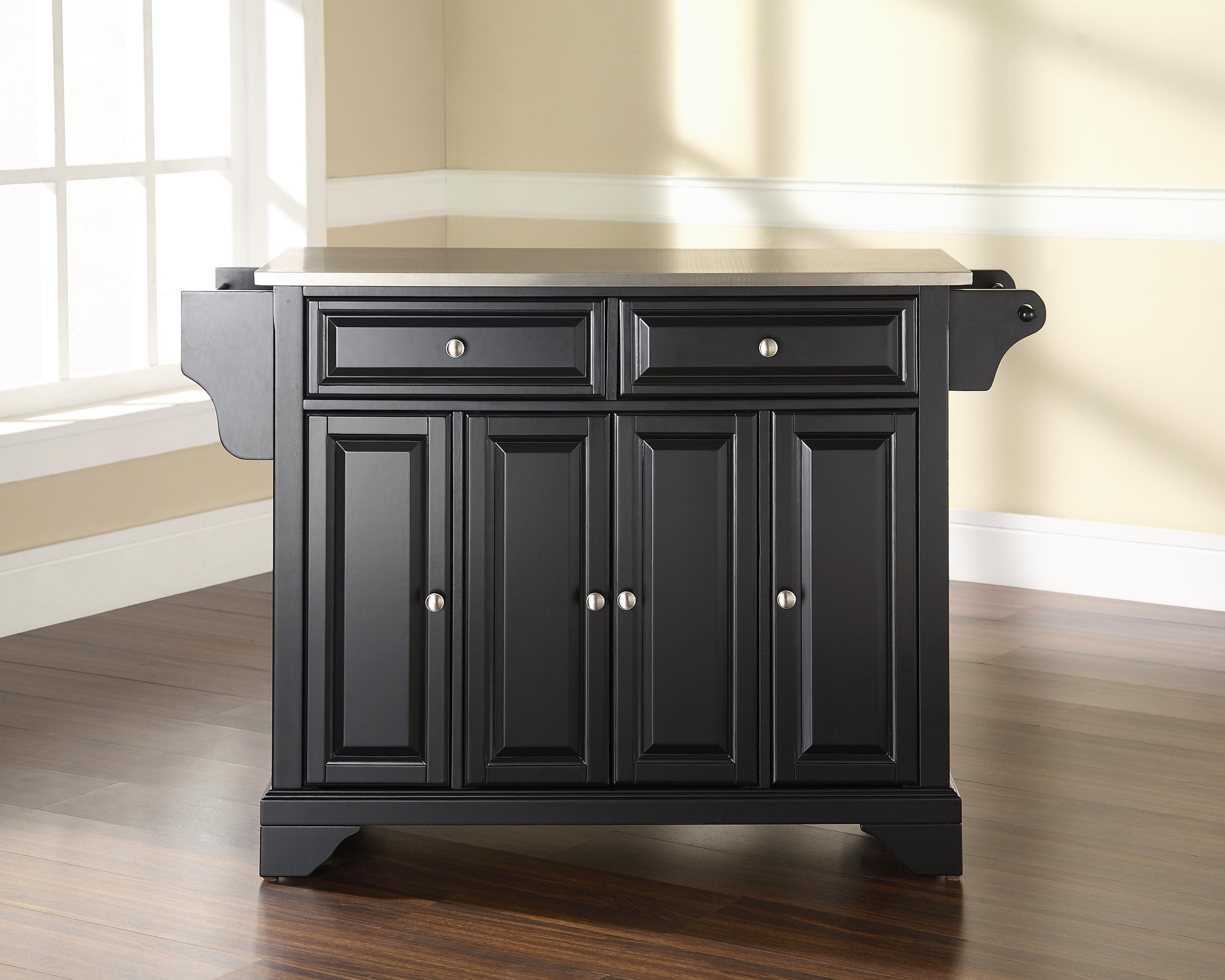 Furniture Stainless Steel Top Kitchen Island Black