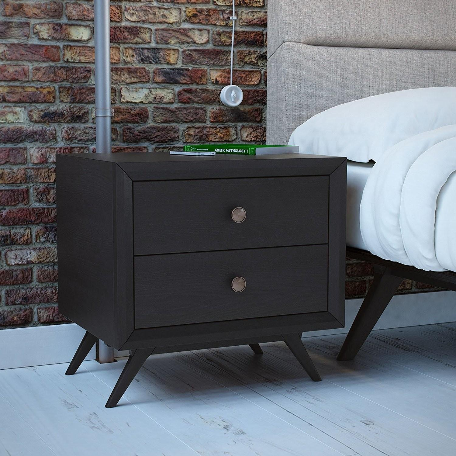 Furniture Tall Nightstands Brown Wooden Cabinet