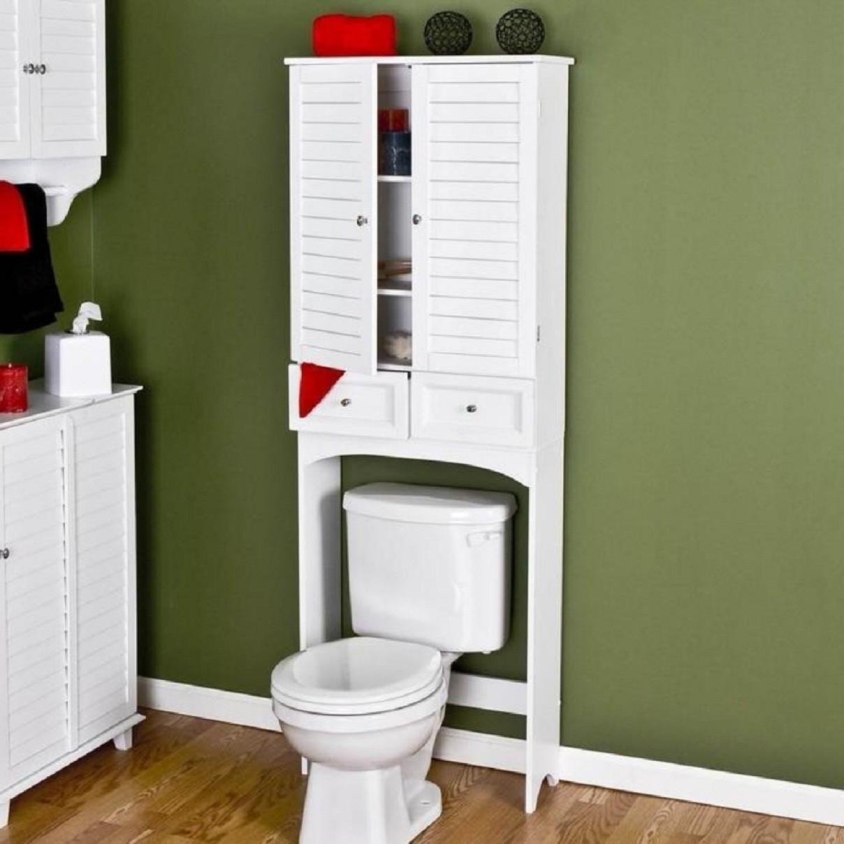 Furniture White Particle Wood Bathroom Storage Over