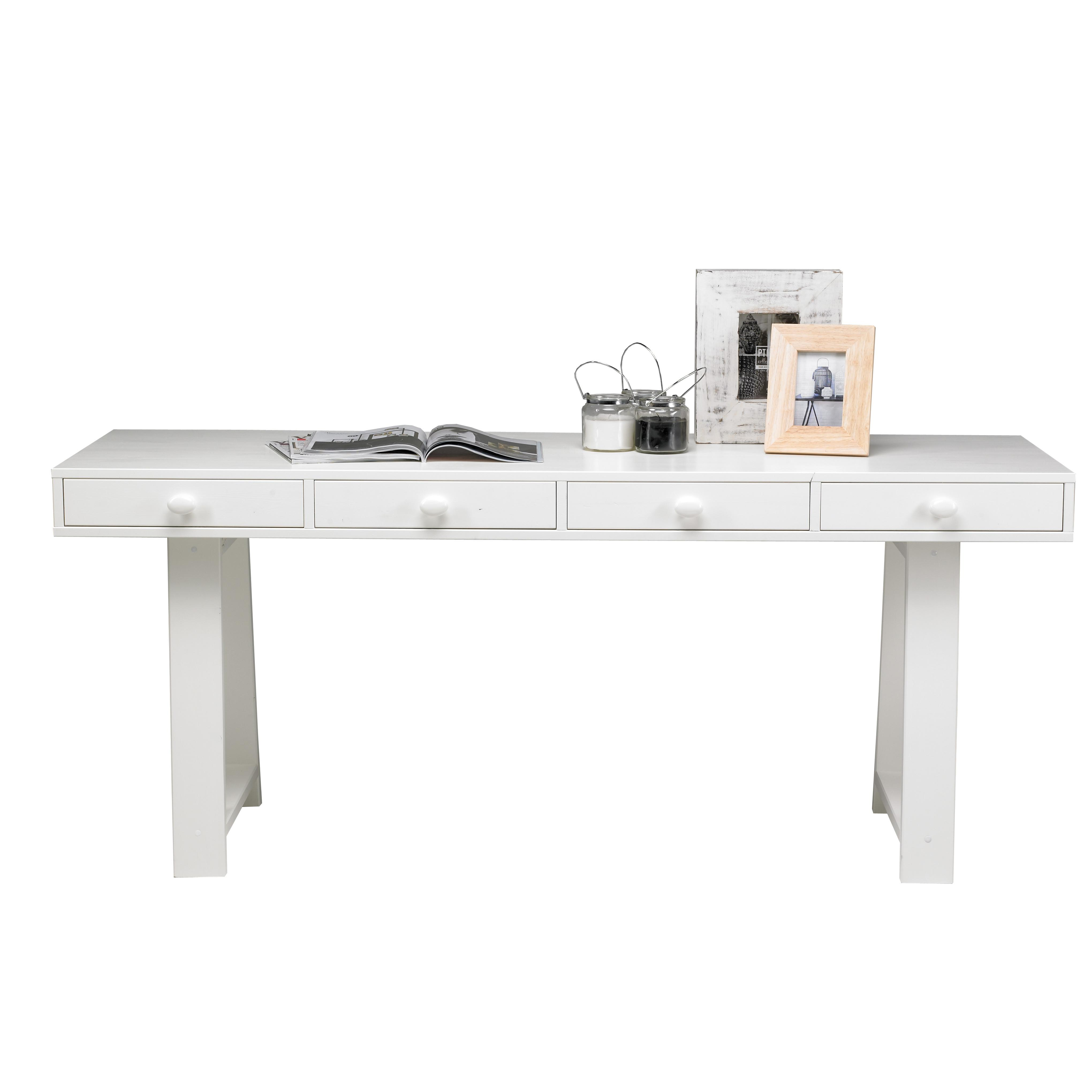 Furniture White Small Writing Desk Two Drawers