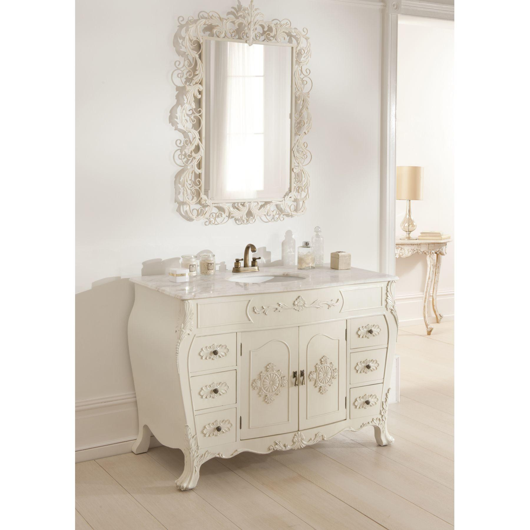 Furniture White Wooden Shabby Bathroom Vanity Black