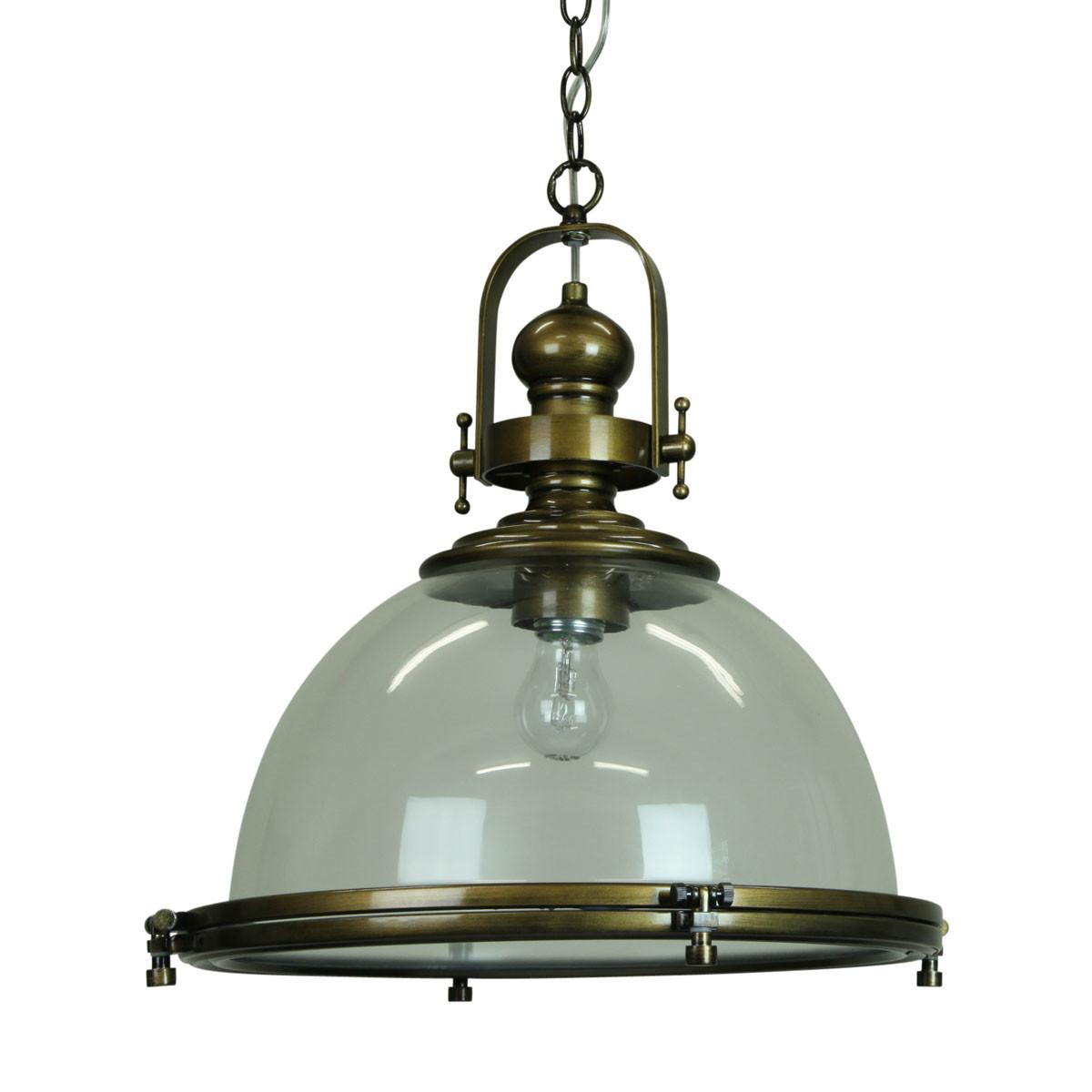 Gaia Industrial Clear Antique Brass Pendant Lighting