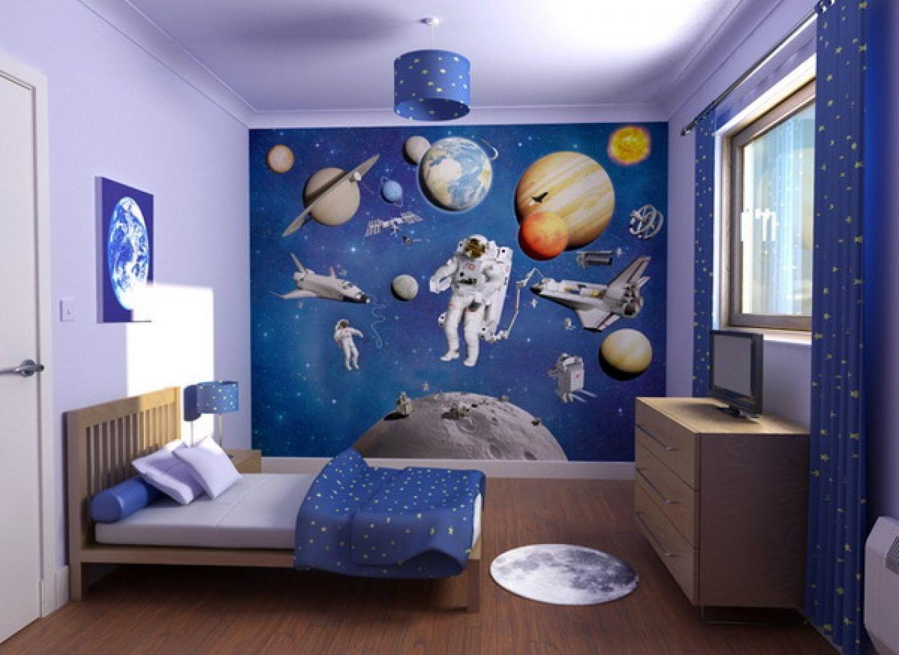 Galaxy Themed Boys Bedroom Adhesive Tile