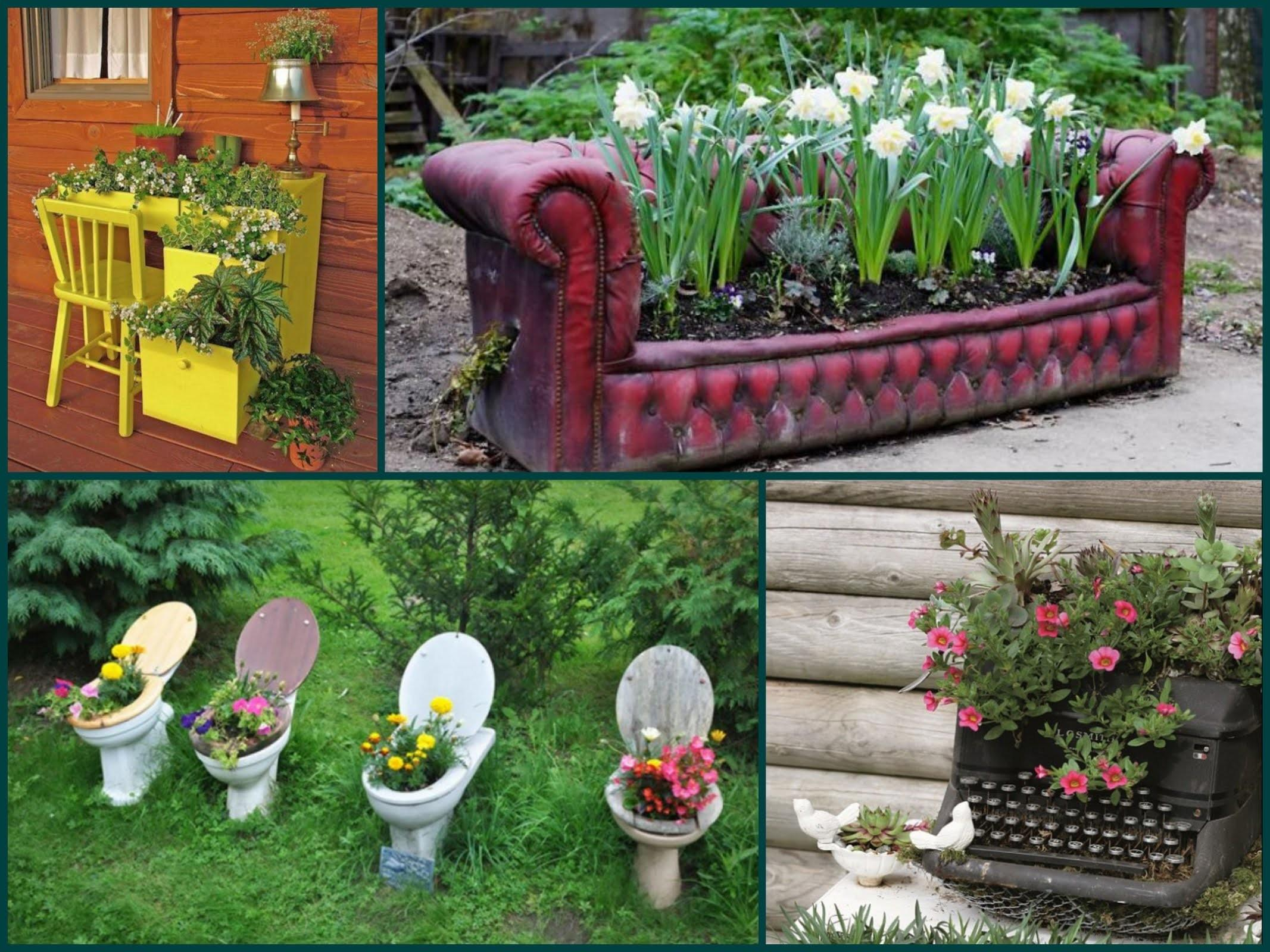 Garden Decorating Ideas Recycle Old Furniture