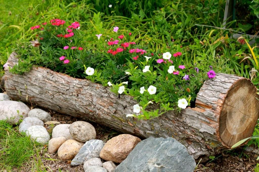 Garden Finance Turn Log Into Rustic Planter Your