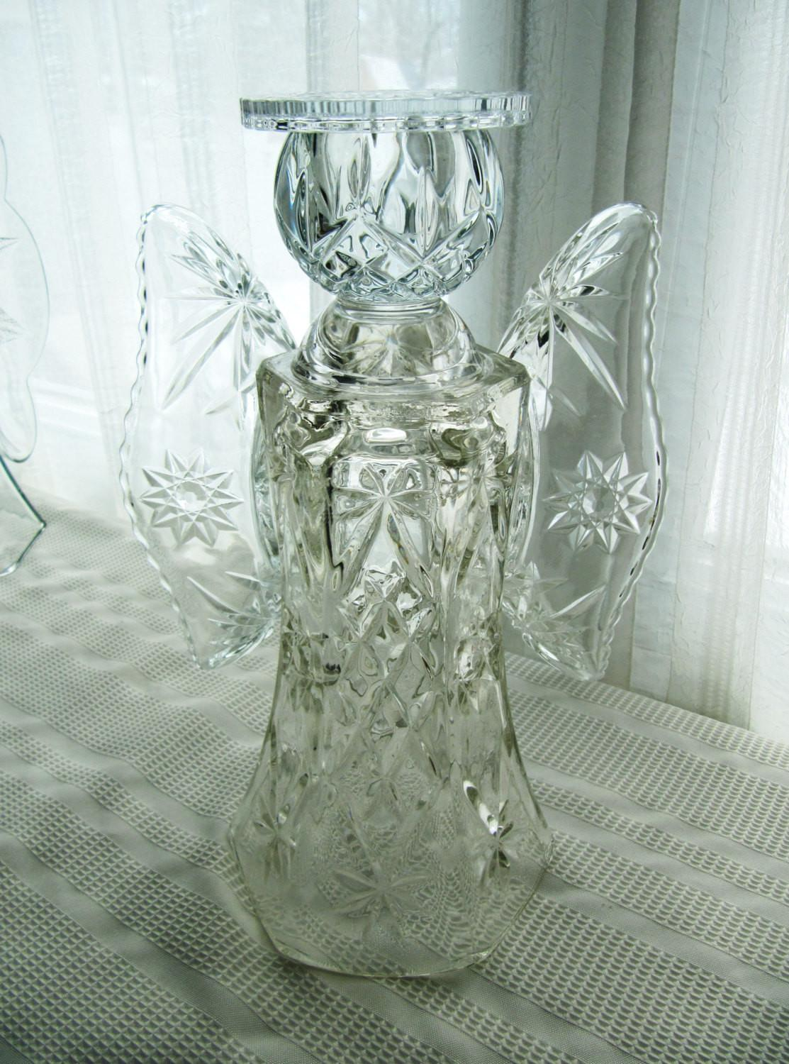 Garden Glass Angel Sculpture Upcycled