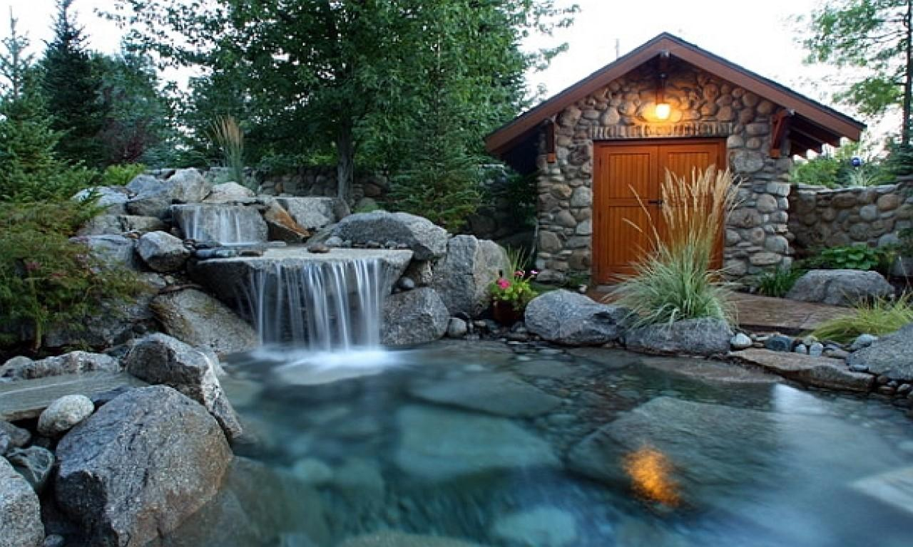 Gas Fire Features Outdoors Natural Pools Waterfall