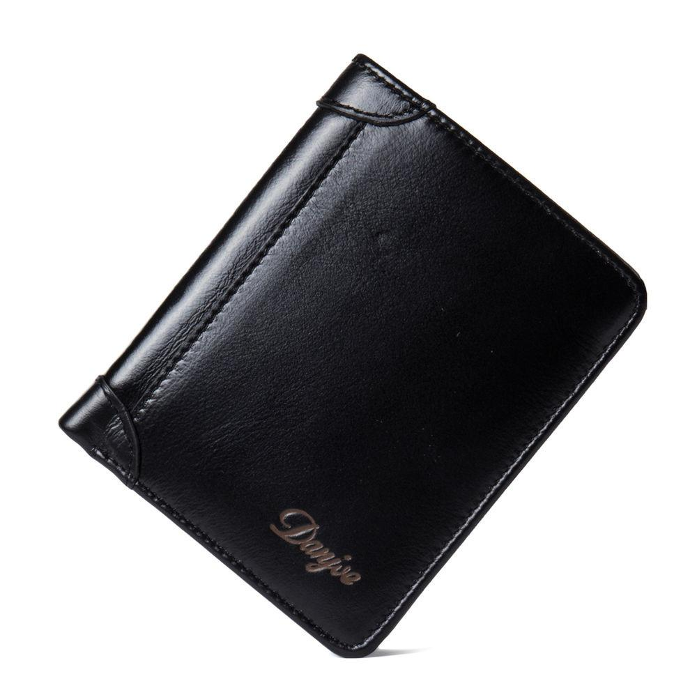 Genuine Leather Wallet Men Trifold Business Small