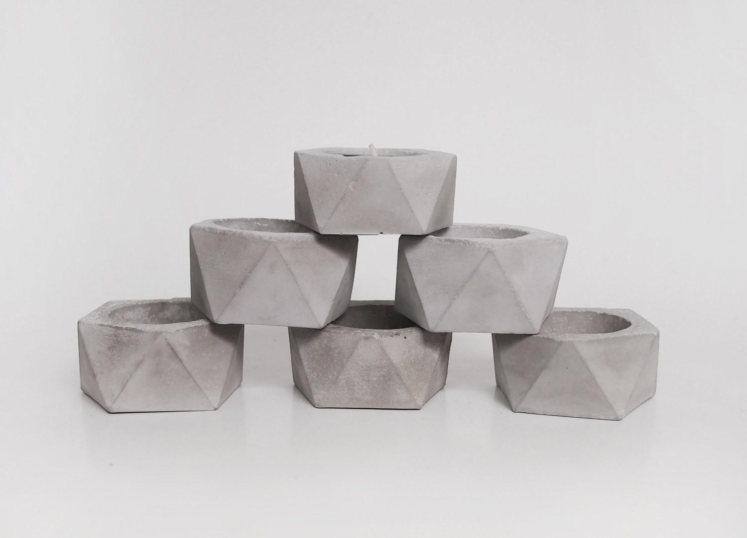Geometric Concrete Candle Holder Puristic