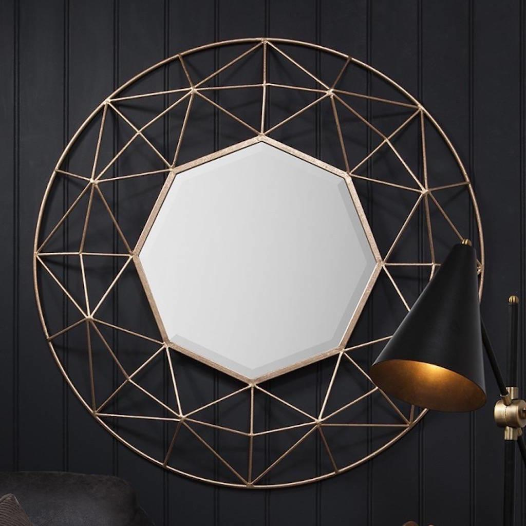 Geometric Gold Framed Mirror Forest