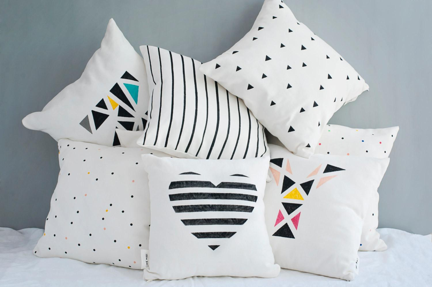 Geometric Heart Cushion Cover Personalized Throw Pillow