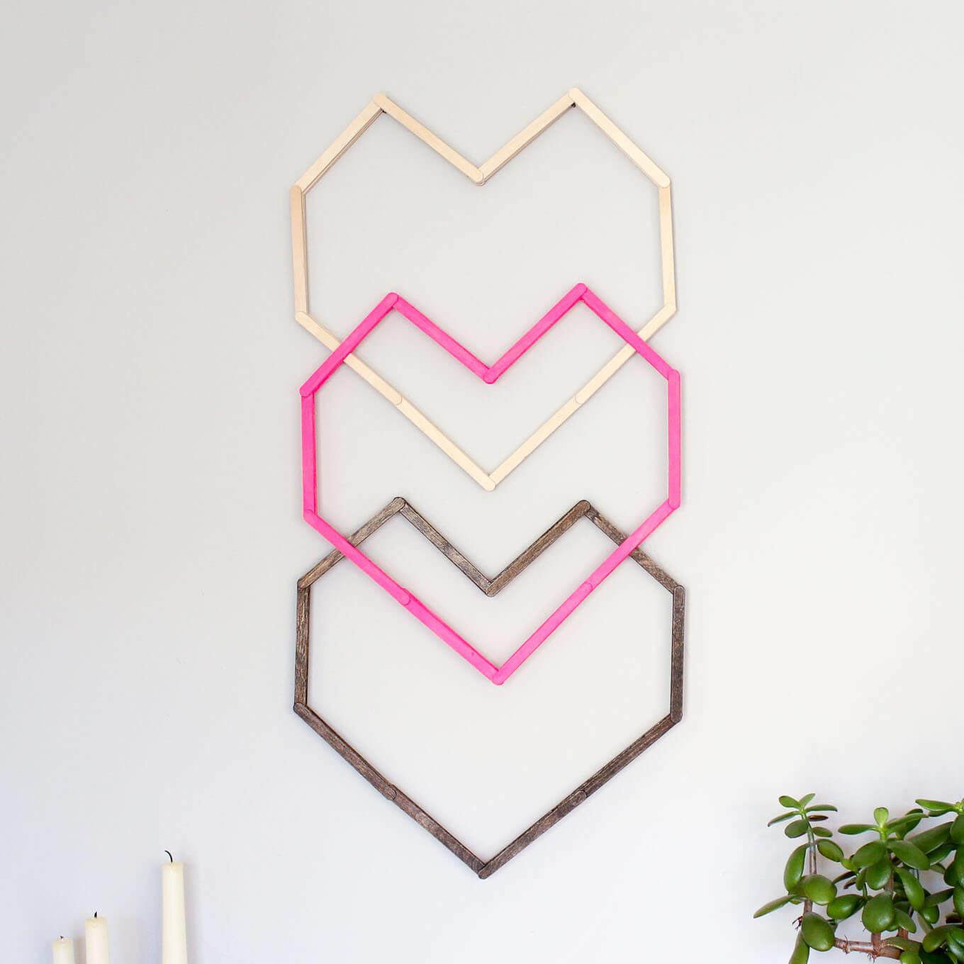 Geometric Heart Diy Wall Art Popsicle Sticks