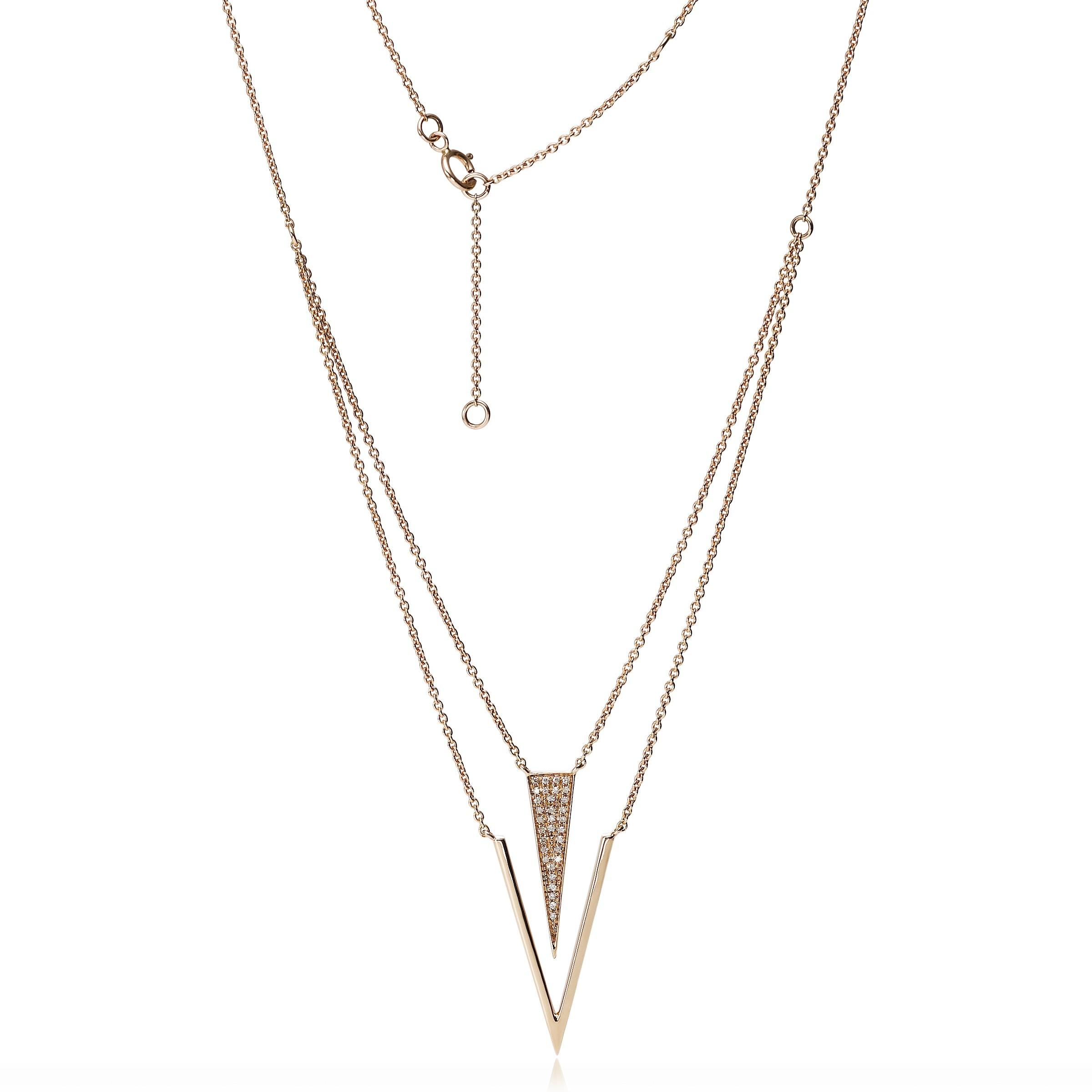Geometric Layering Diamond Necklace 14k Rose Gold
