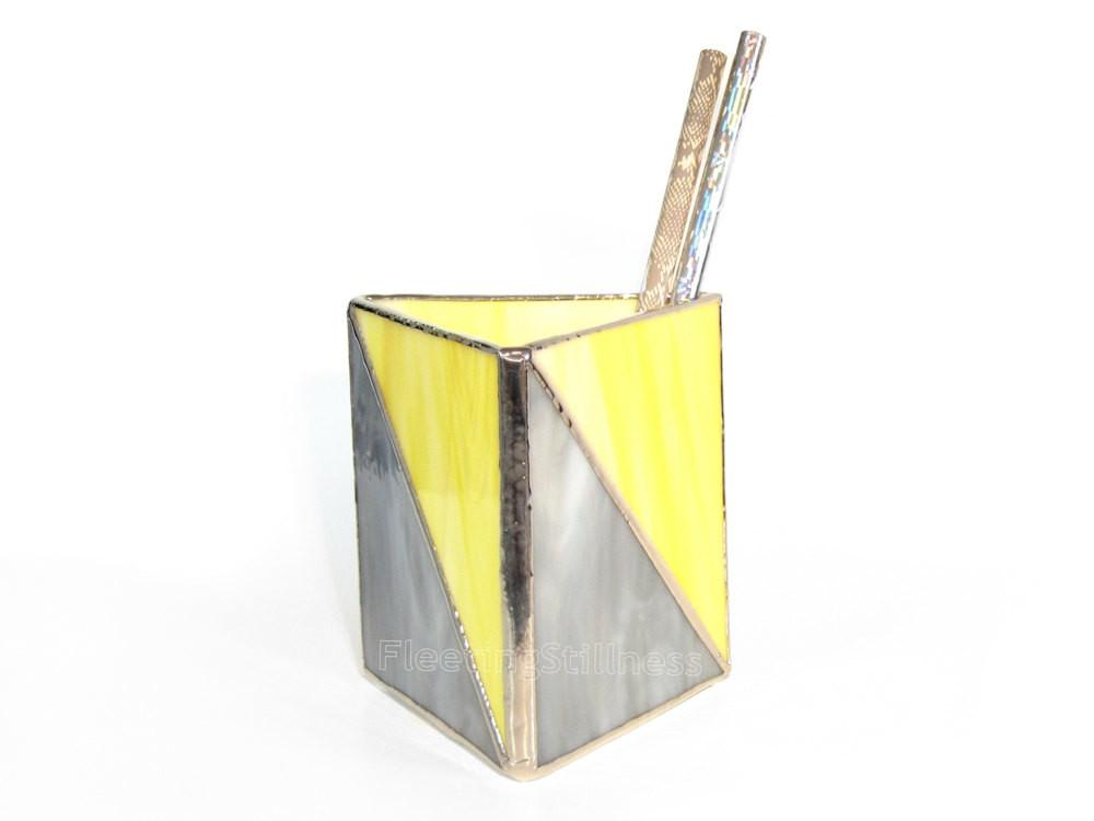 Geometric Pencil Holder Stained Glass Chevron Triangle Gray
