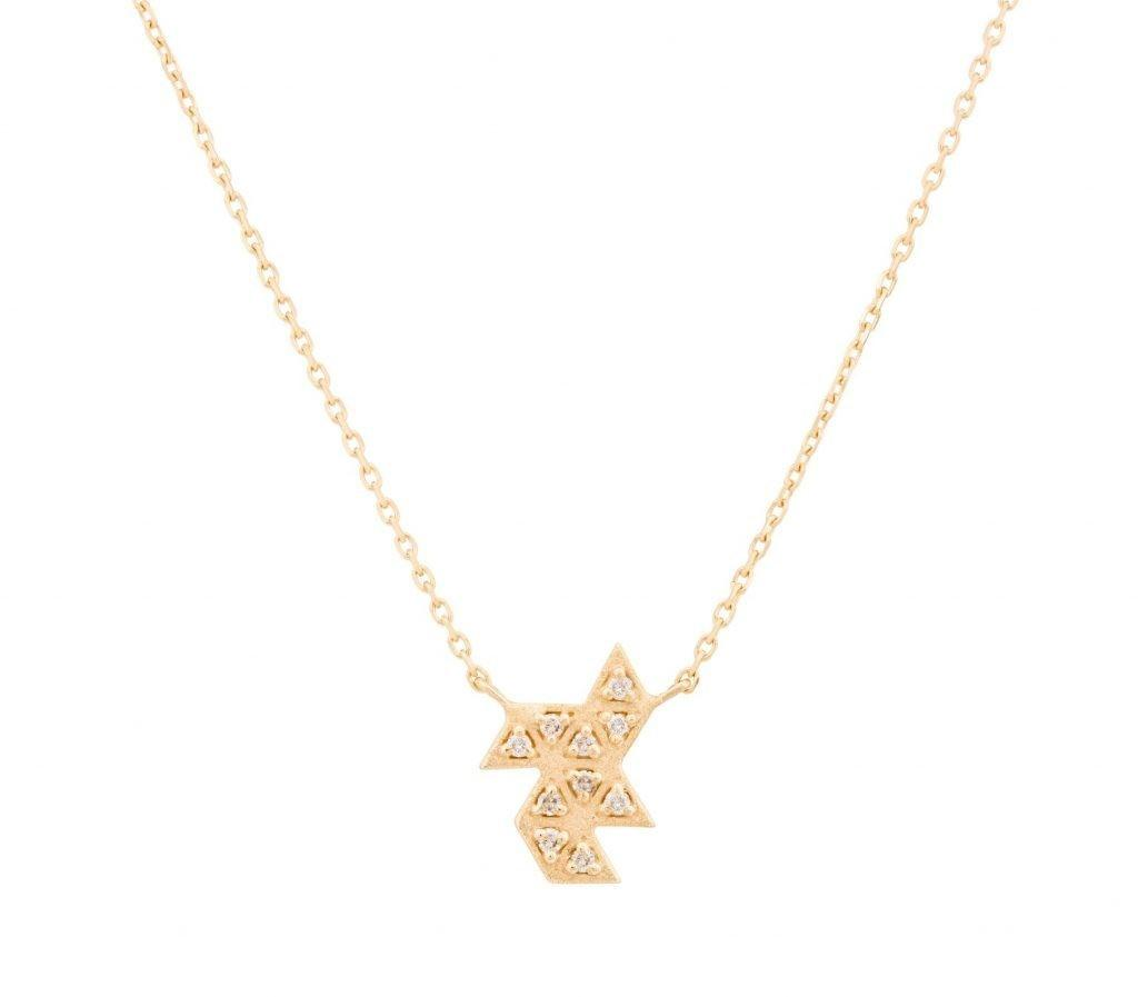 Geometric Small Diamond Necklace Fleur Finds